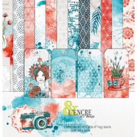Set de papier 30x30 L'échappée belle 6 feuilles et 4 tags assortis - L'Encre et l'image