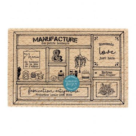 Tampon bois Manufacture du bonheur - La maison de Jeanne - Florilèges Design