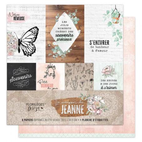 Set de papier 30x30 La maison de Jeanne 6f + 1 planche d'étiquettes - Florilèges Design