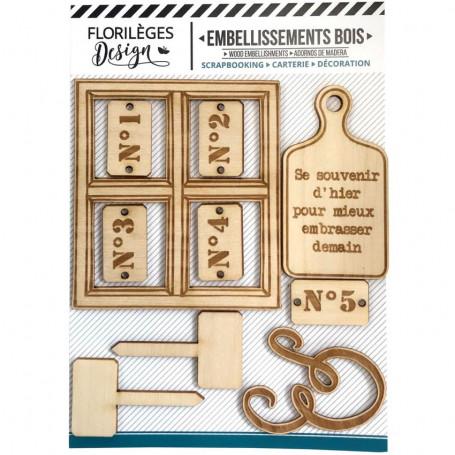 Embellissements bois 10 pc - La maison de Jeanne 1 - Florilèges Design