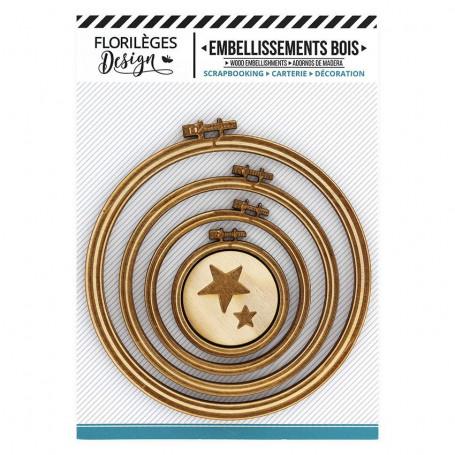 Embellissements bois Supports à broder Cercles 5 pc - Florilèges Design