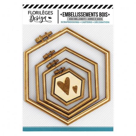 Embellissements bois Supports à broder Hexagones 5 pc - Florilèges Design