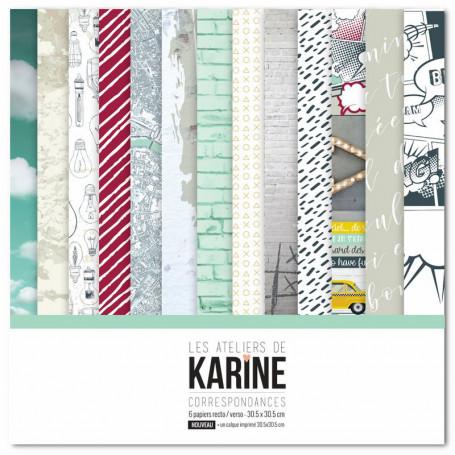 Set de papier 30x30 Correspondances 6 feuilles et 1 calque - Les ateliers de Karine