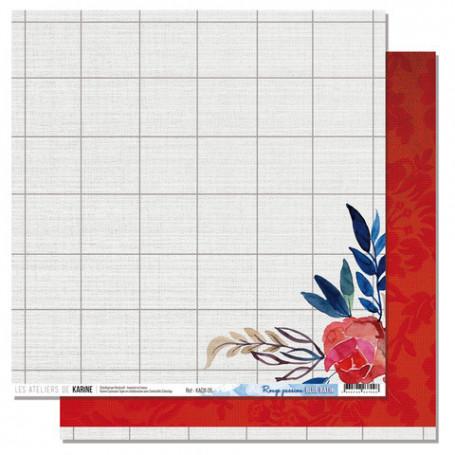 Papier 30x30 Rouge passion 1f - Collection Blue Batik - Les ateliers de Karine