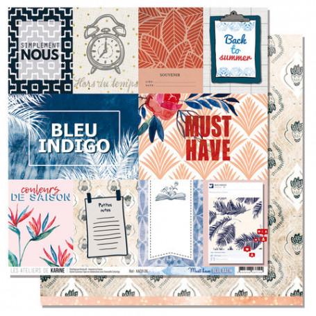Papier 30x30 Must have 1f - Collection Blue Batik - Les ateliers de Karine