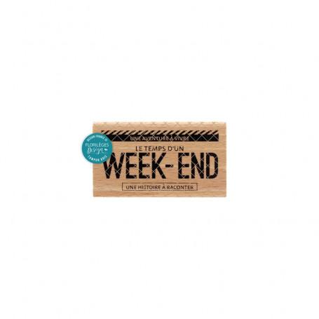 Tampon bois Week-end - Globe Trotter - Florilèges Design