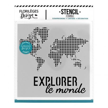 Pochoir Explorer le monde - Globe Trotter - Florilèges Design