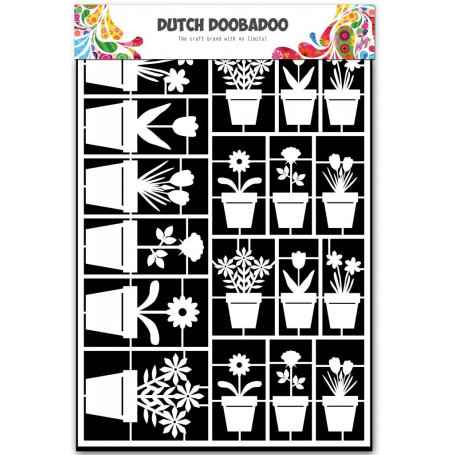 Embellissements papier A5 Pots de fleurs – Dutch Paper Art - Dutch Doobadoo