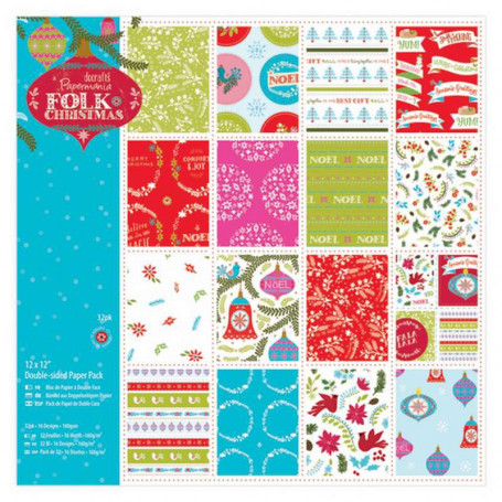 Set de papier 30x30cm Folk Christmas 32f - Docrafts Papermania
