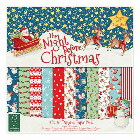 Set de papier 30x30 The Night Before Christmas 24f –  Helz Cuppleditch