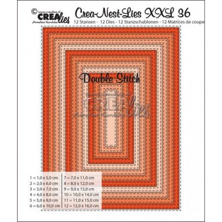 Dies Crea-Nest-Lies 36 XXL Double Stitch rectangles- Crealies